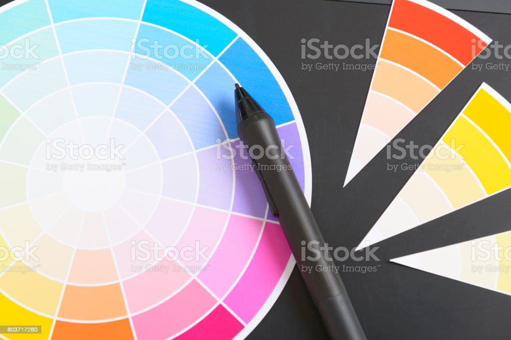 Colour wheel and graphic tablet stock photo
