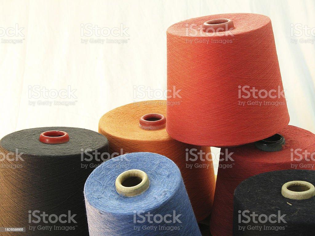 Colour Yarn Cones stock photo