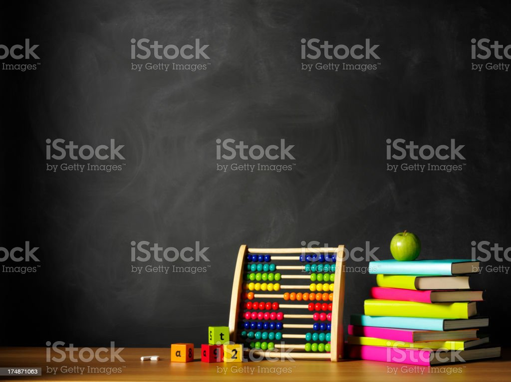 Coloured Books and an Abaucs on the School Desk stock photo