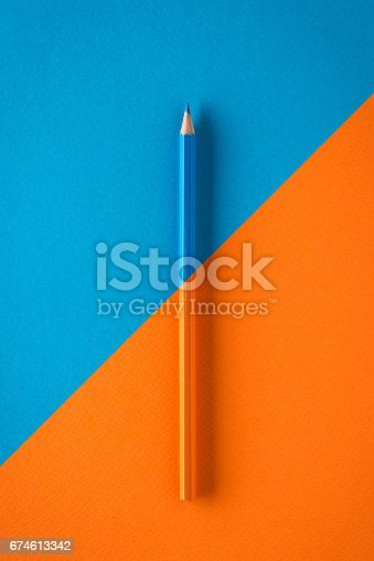 istock Coloured crayon on paper diagonal still life composition 674613342