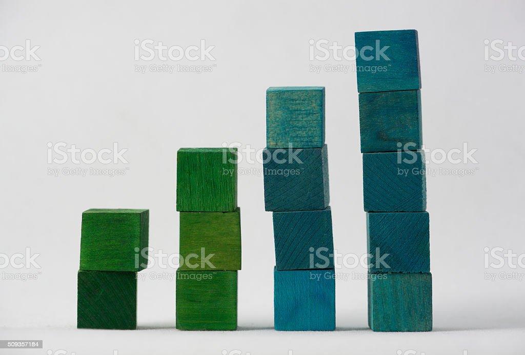 Coloured Cubes on White Background stock photo