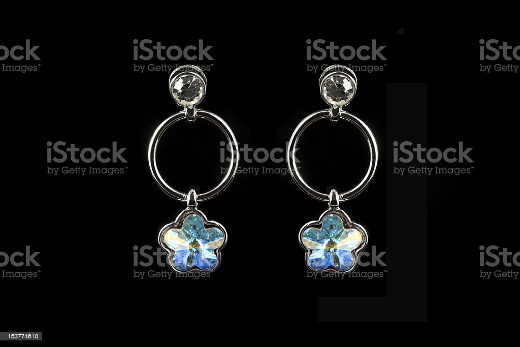 coloured earrings on black royalty-free stock photo