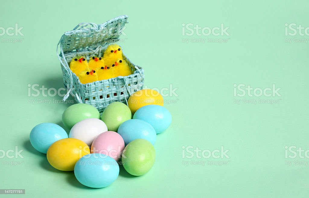 coloured easter eggs and chick royalty-free stock photo