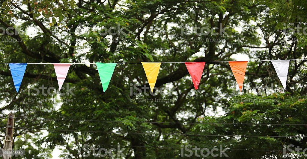 Coloured flags stock photo