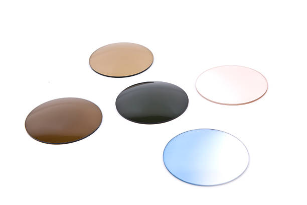 coloured glasses - sale lenses stock photos and pictures
