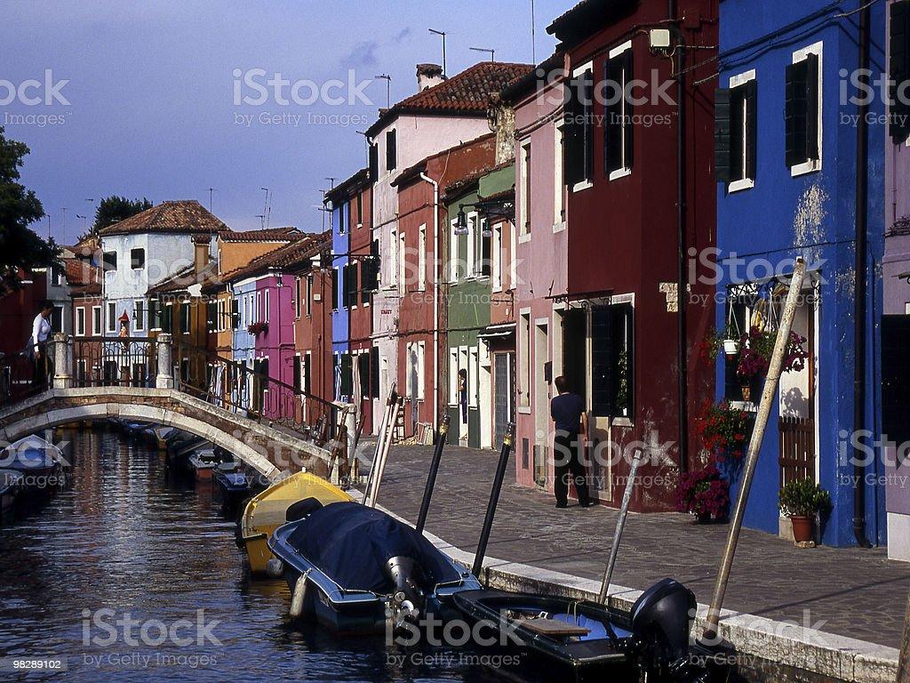 주택들 부라노, 베네치아, 이탈리아 royalty-free 스톡 사진