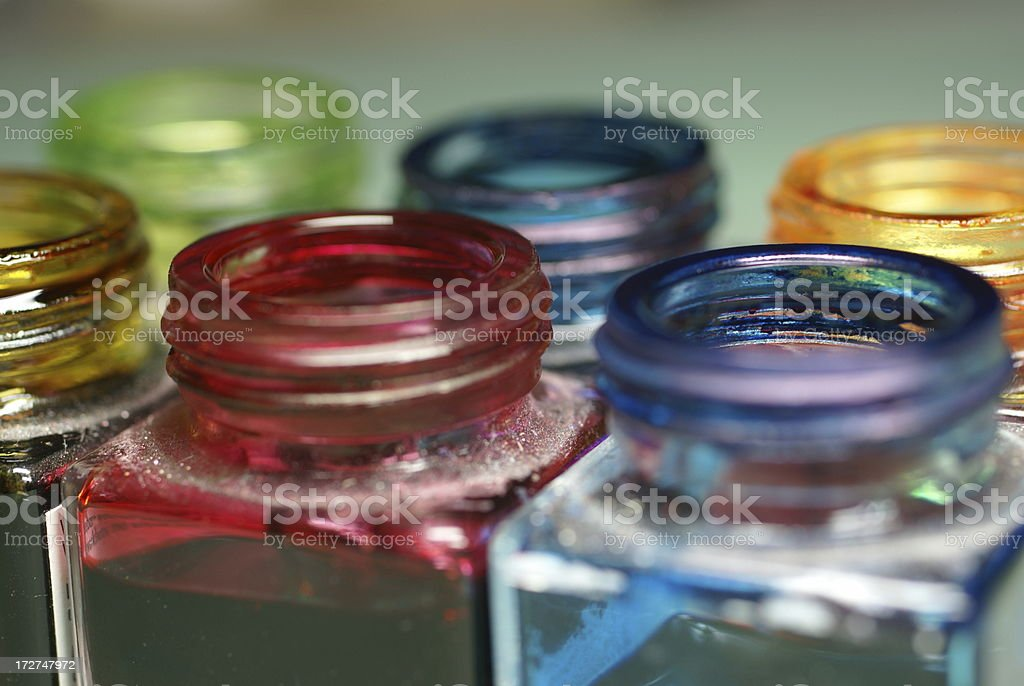 Coloured ink glasses royalty-free stock photo
