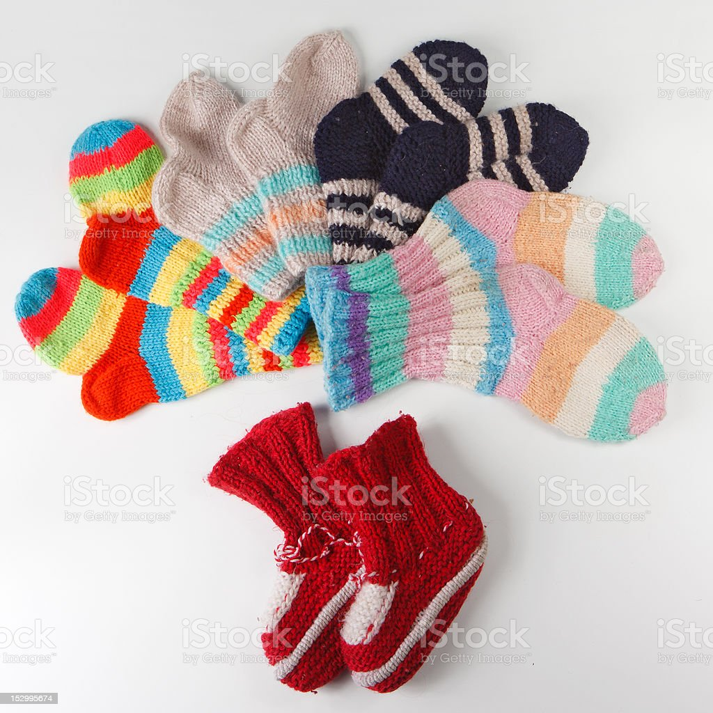 coloured knitted socks royalty-free stock photo