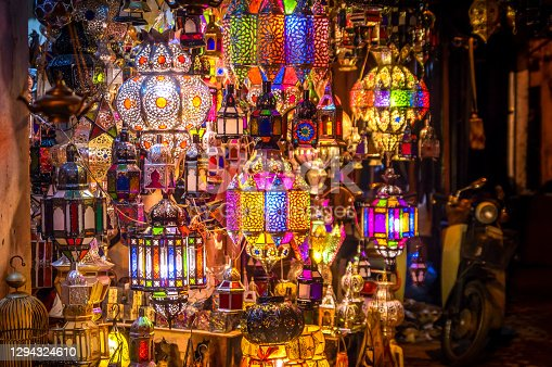 coloured lamps in a street market - Marrakesh souk, Morocco