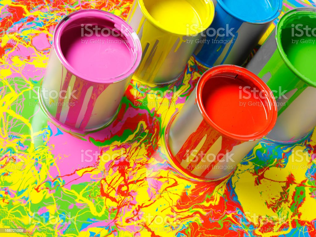 Coloured Paint on a Painted Background royalty-free stock photo