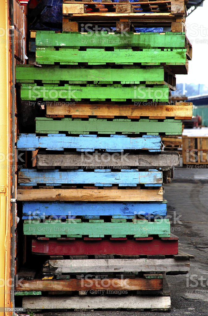 Coloured pallets stock photo