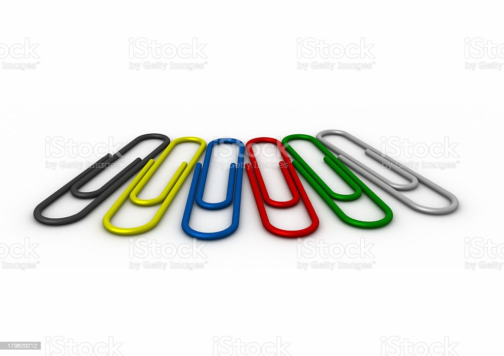 3D coloured paperclips royalty-free stock photo