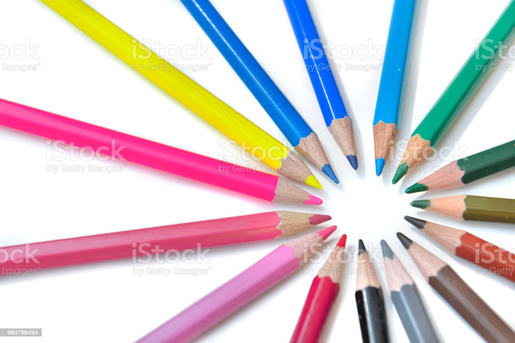 coloured pencil in circle royalty-free stock photo