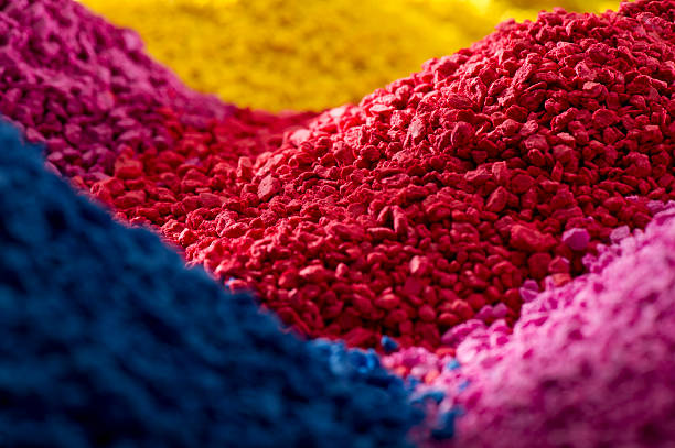 coloured polymer compounds stock photo