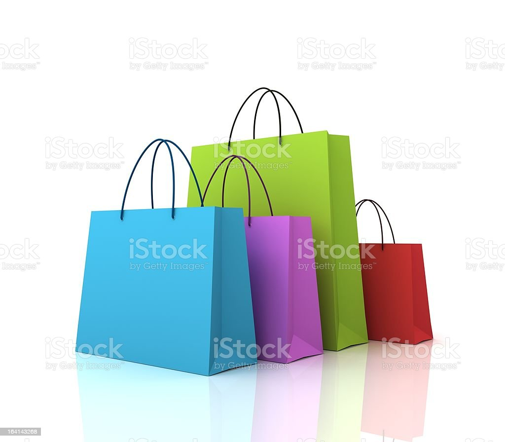 Coloured shopping bags stock photo