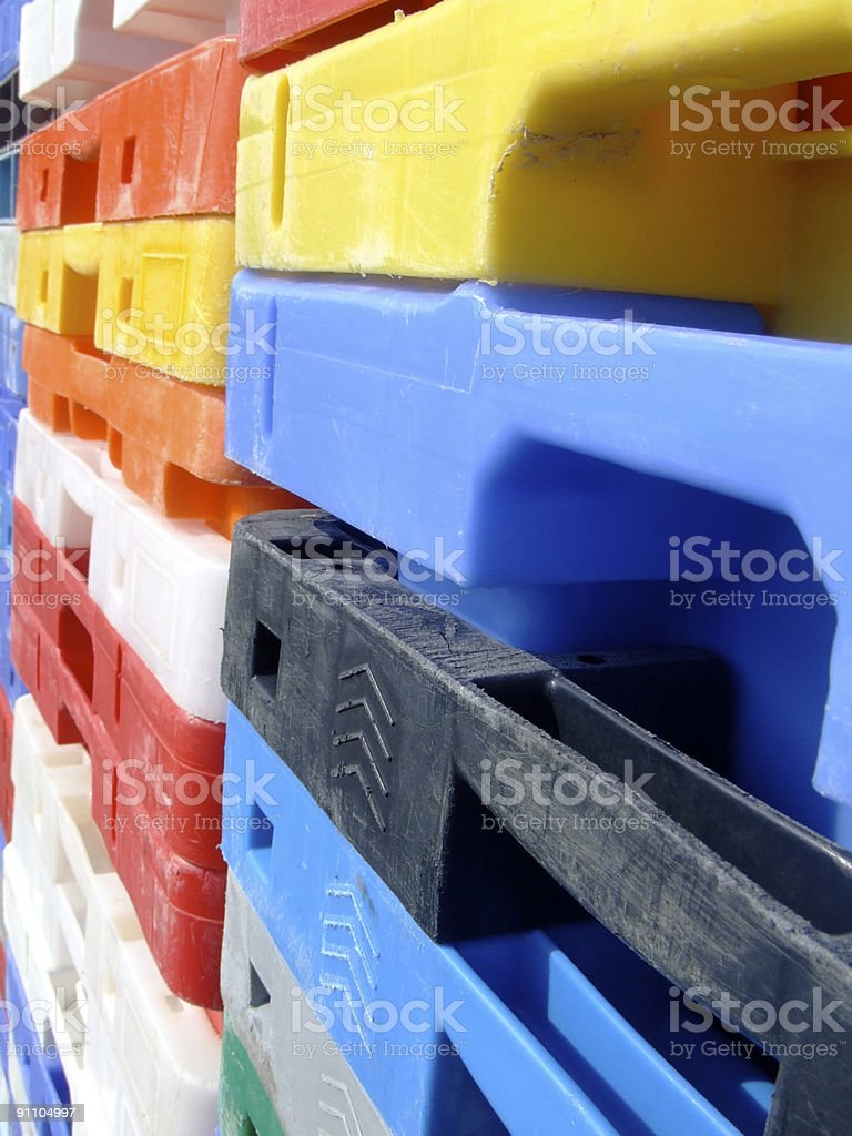 Coloured storage boxes at an angle royalty-free stock photo