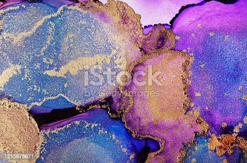 1217742482 istock photo Colourful abstract painting background. Highly-textured oil paint. High quality details. Alcohol ink modern abstract painting, modern contemporary art. 1215678671