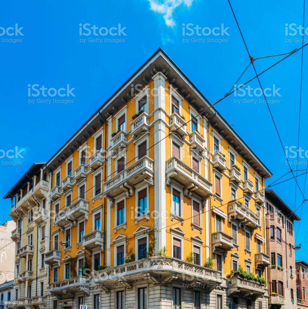 Colourful and bright art-noveau Liberty style buildings in Milan, Lombardy, Italy. - foto stock