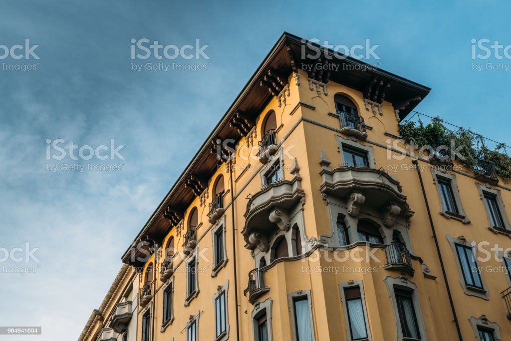 Colourful and bright art-noveau Liberty style buildings in the Porta Venezia distrct of Milan, Lombardy, Italy - foto stock