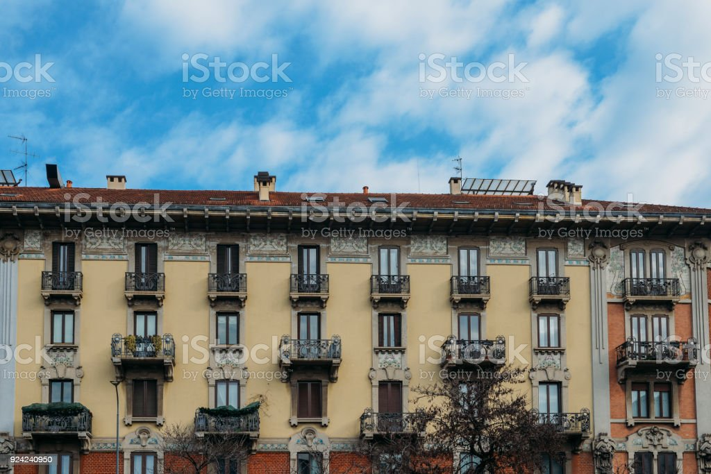 Colourful and bright art-noveaum Liberty stylem buildings in Milan, Lombardy, Italy - foto stock