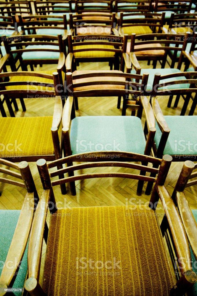 Colourful Arranged Wooden Seats zbiór zdjęć royalty-free
