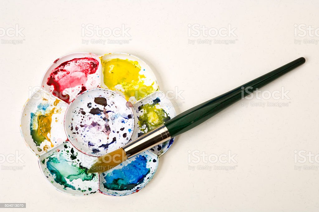 Colourful Artists Watercolour Palette And Brush Stock Photo