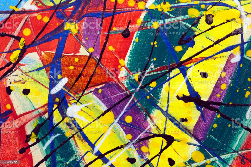 Colourful artwork full frame close up texture stock photo