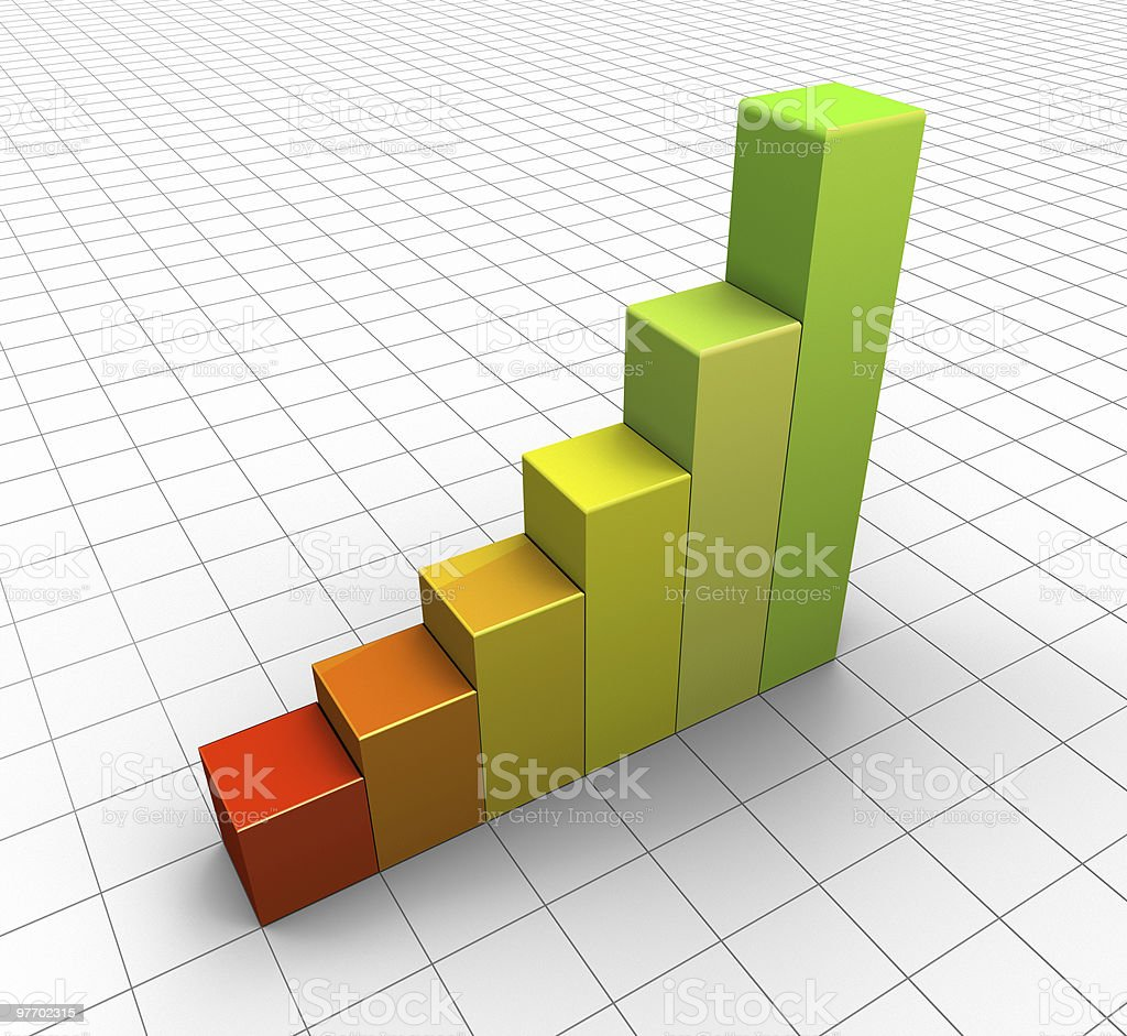 Colourful ascending bar graph royalty-free stock photo
