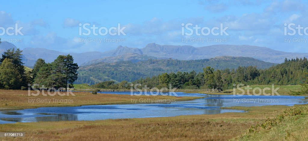 Colourful autumn view of the Langdale Valley stock photo