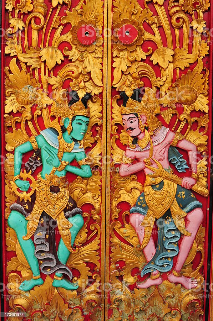 Colourful Balinese Door royalty-free stock photo