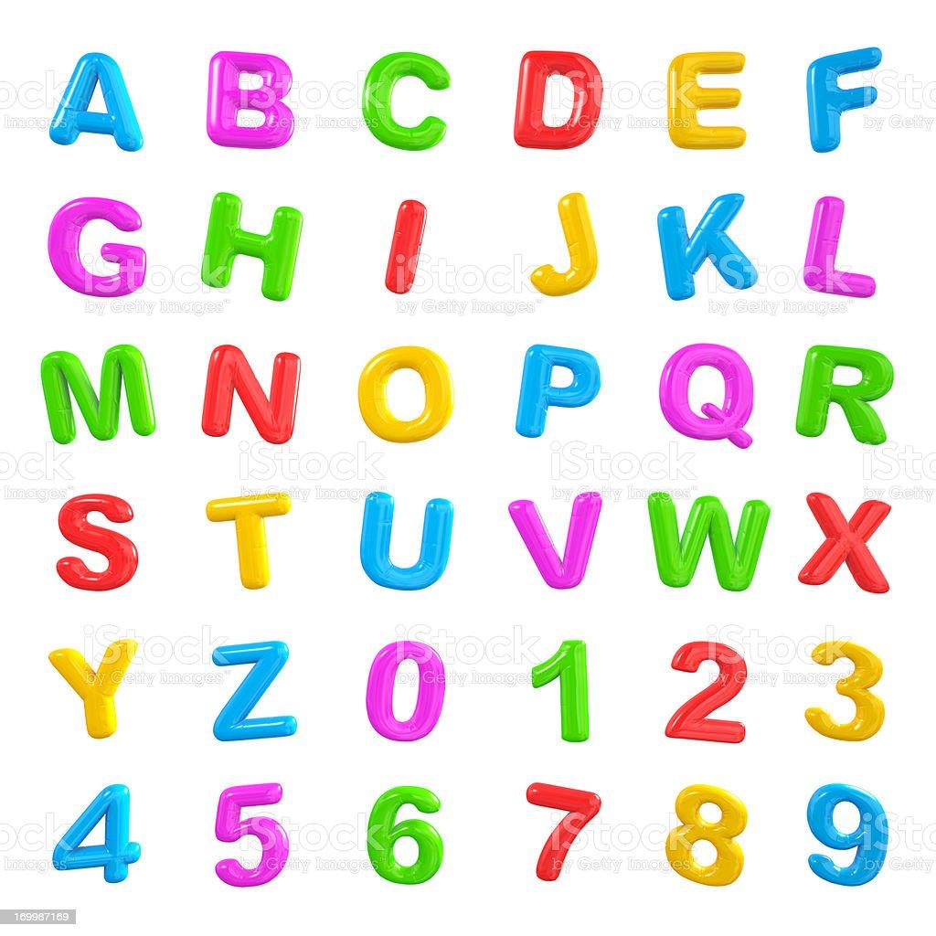 Colourful balloon letter alphabet stock photo