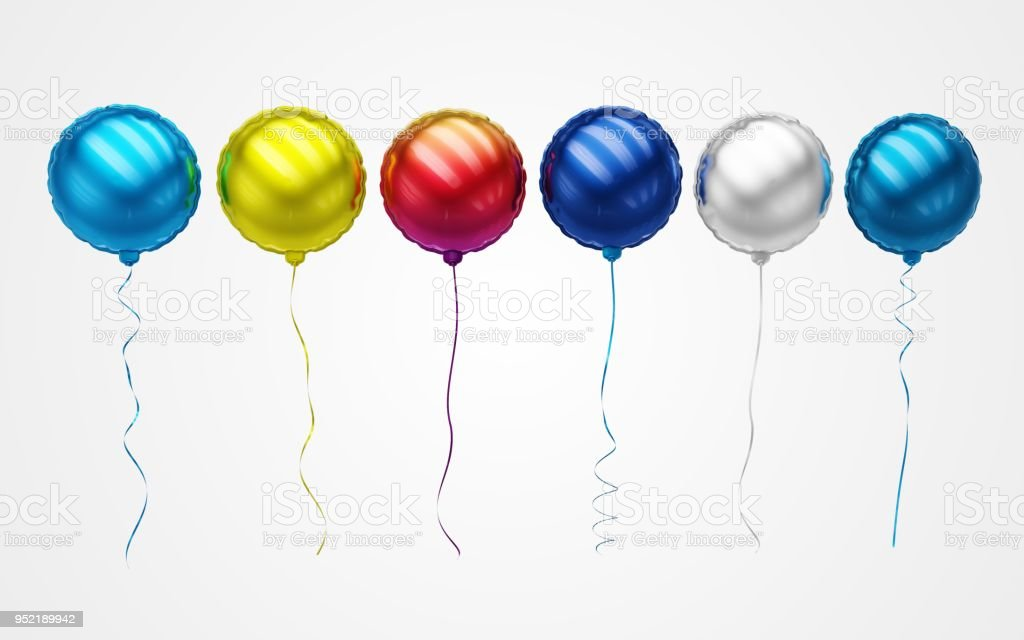 Colourful Balloons Floating in front view - Stock Image stock photo