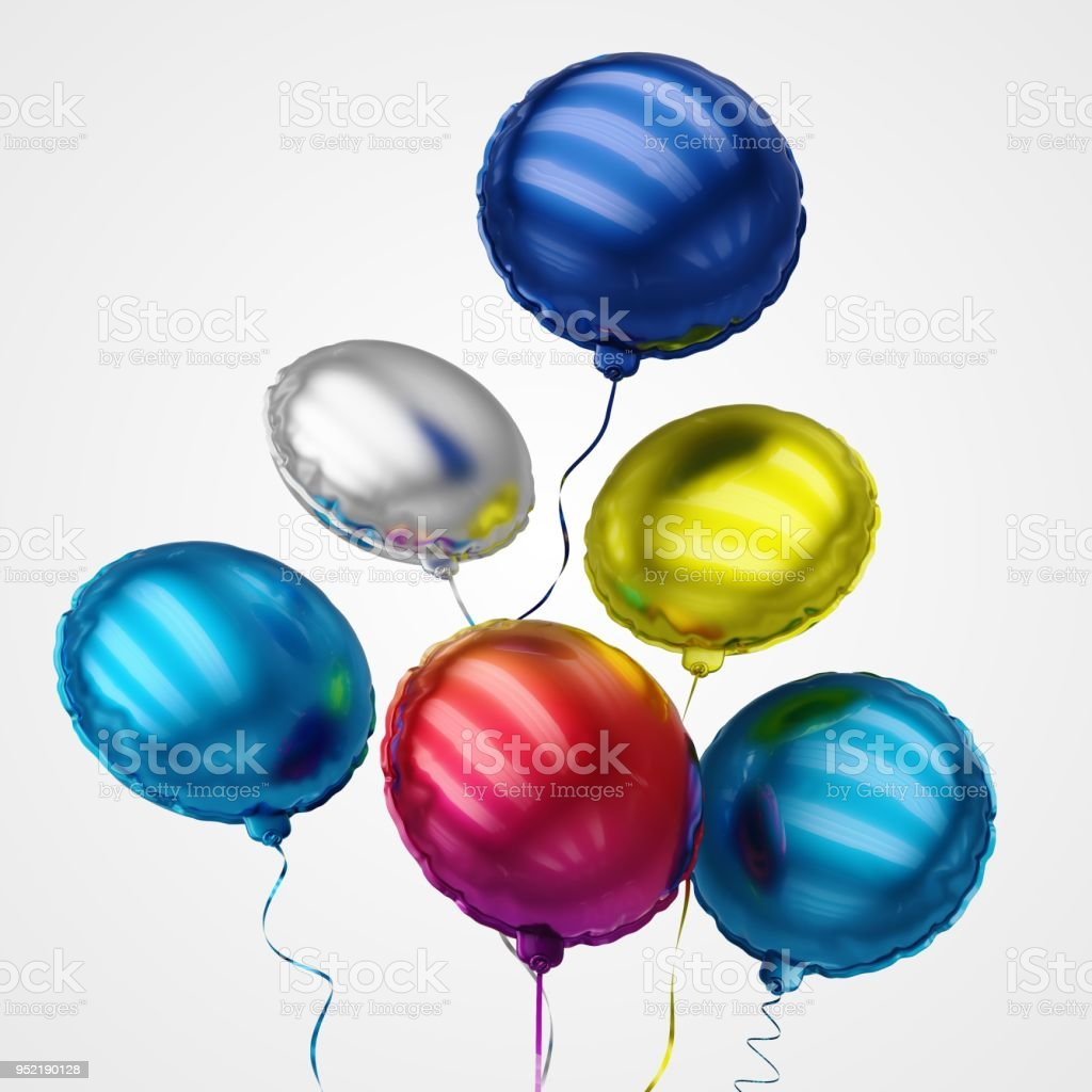 Colourful Balloons Floating in perspective view - Stock Image stock photo