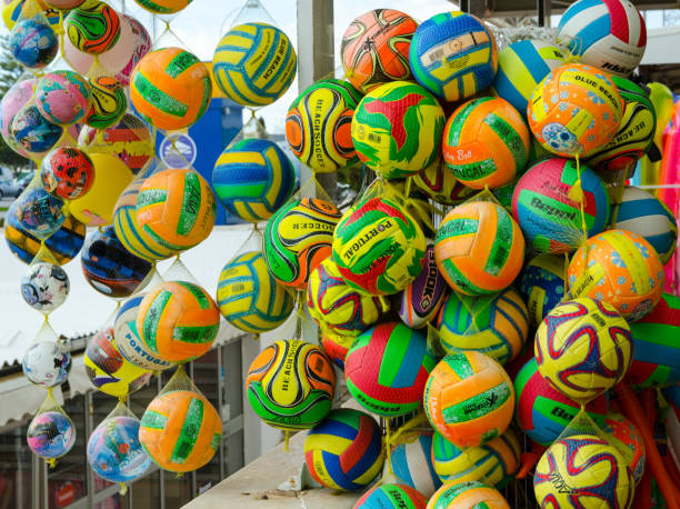 Colourful Balls for sale, Portugal stock photo