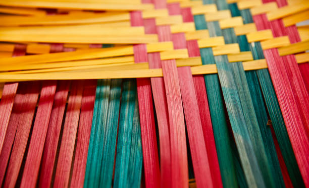 Colourful bamboo made handicrafts object stock photo