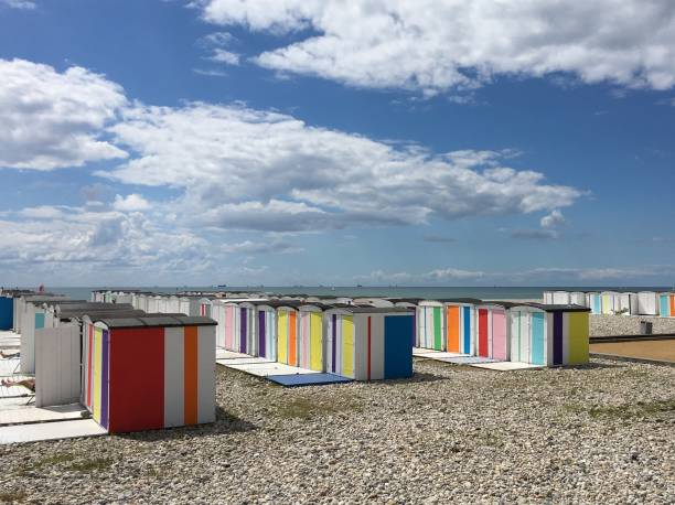 Colourful beach cabins at Le Havre Normandy Colourful beach cabins at Le Havre Normandy le havre stock pictures, royalty-free photos & images