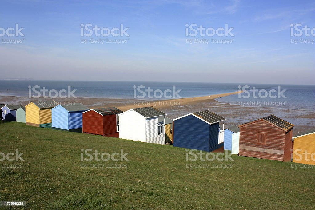 Colourful beach huts in Whitstable Kent stock photo