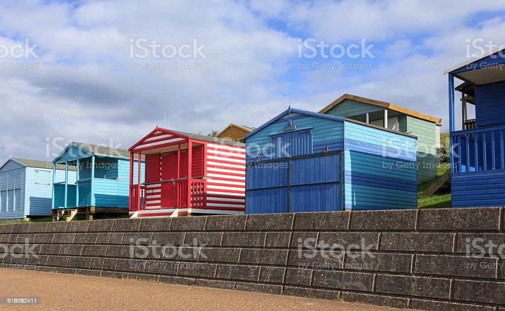 Colourful beach huts stock photo