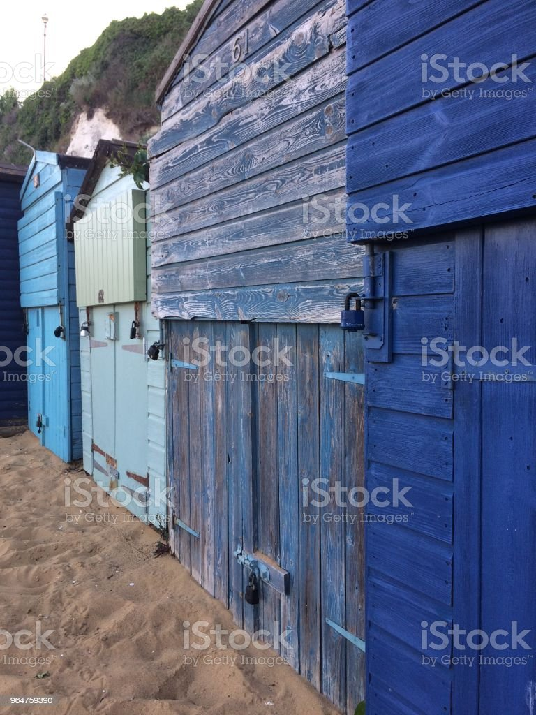 colourful beach huts royalty-free stock photo