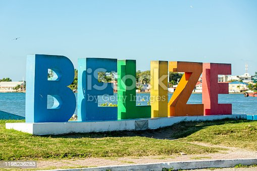 Colourful Belize city sign at sunny day nobody close up summer