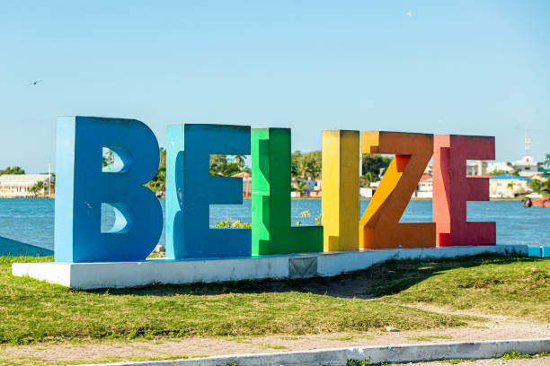 Colourful Belize city sign at sunny day nobody close up stock photo