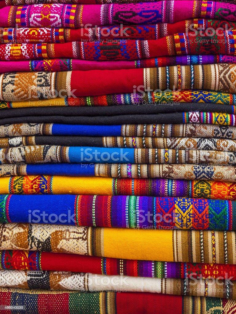 Colourful blankets in Pisac, Peru stock photo