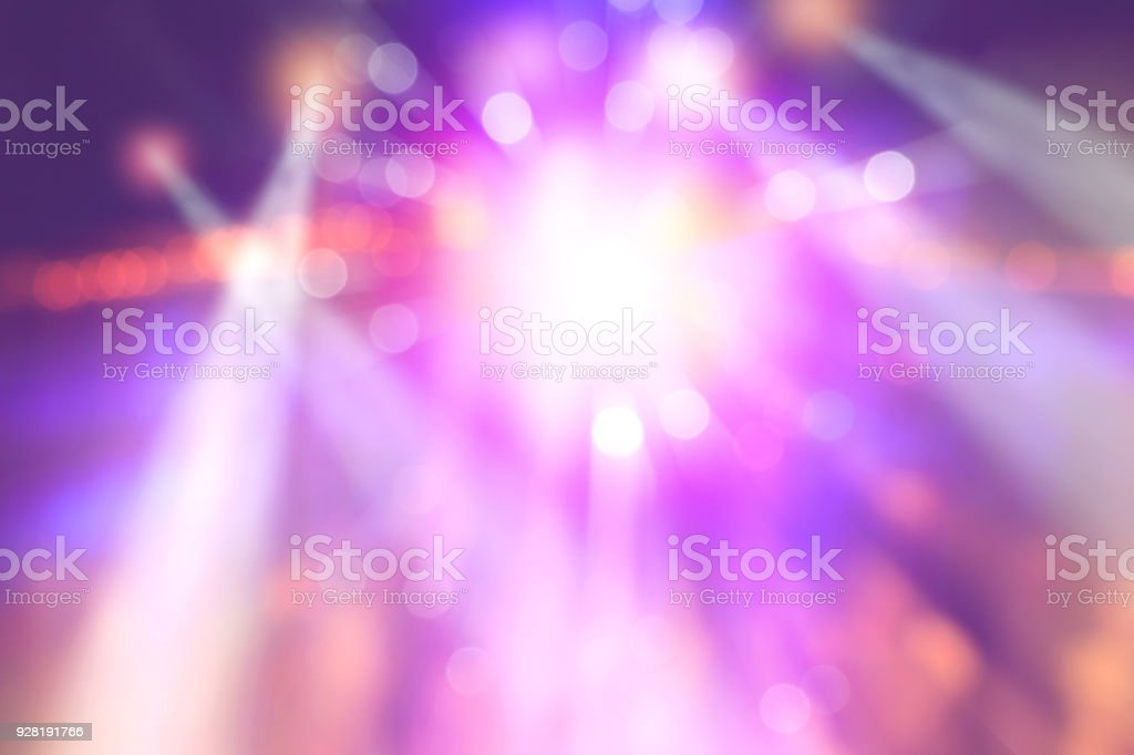 colourful blurred lights on stage, abstract image of concert lighting stock photo