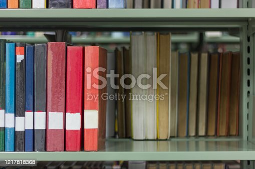 Colourful book on shelf of college public library, stack of literature on the bookshelf background with copy space