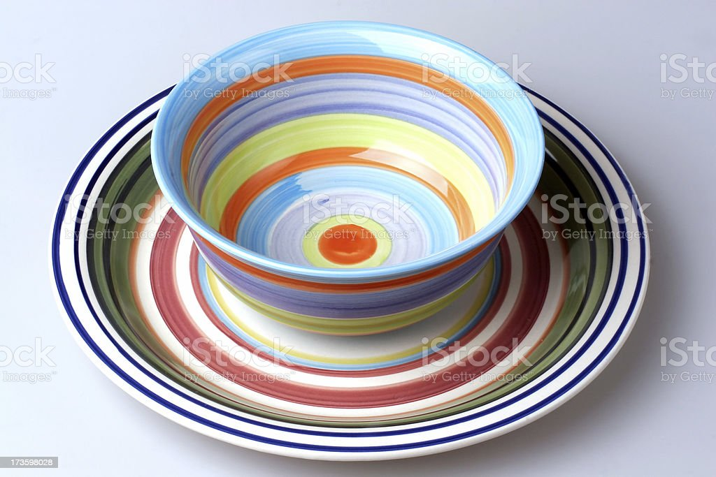 Colourful Bowl and Plate royalty-free stock photo