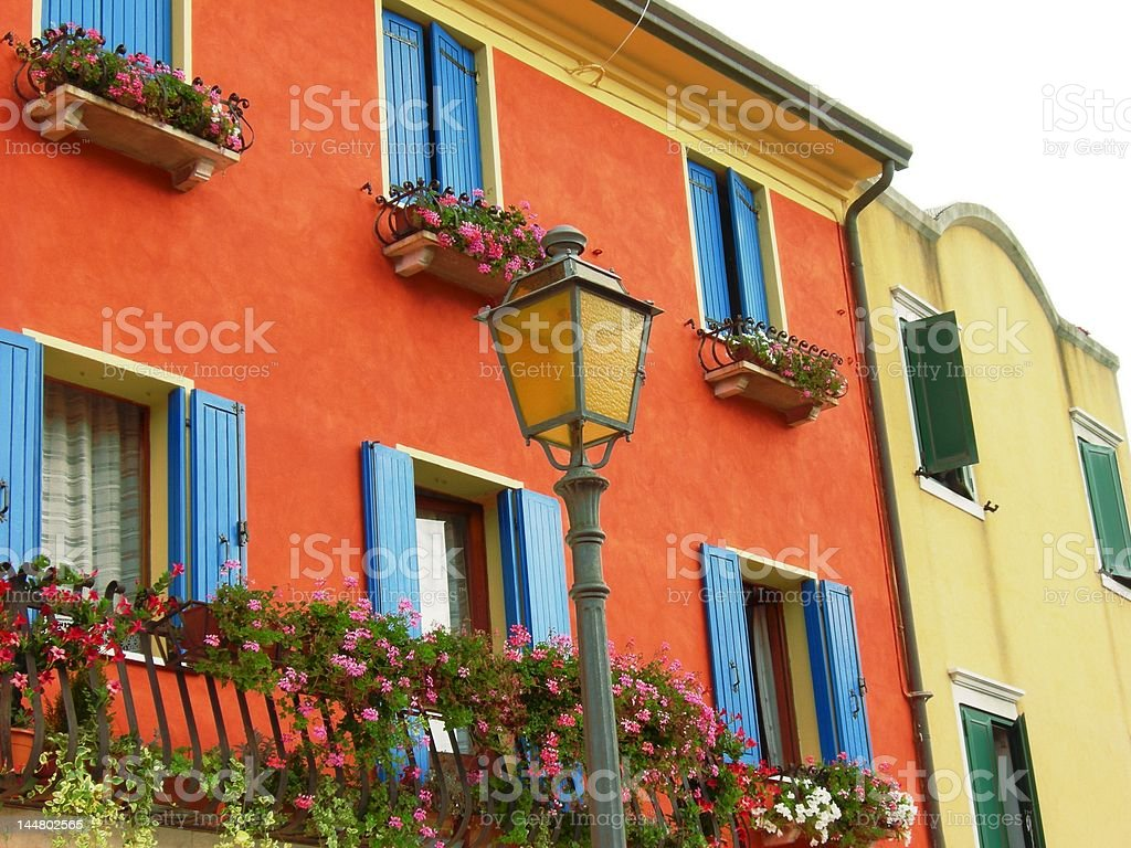 Colourful building of Caorle city royalty-free stock photo