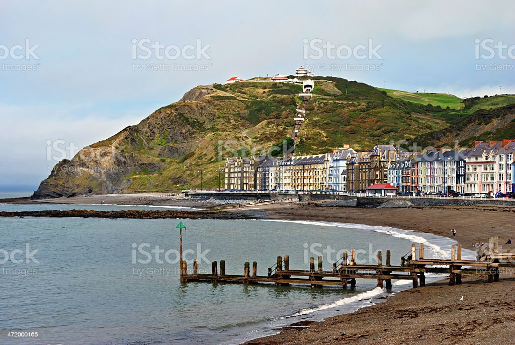 Colourful buildings by North Beach, Aberystwyth stock photo
