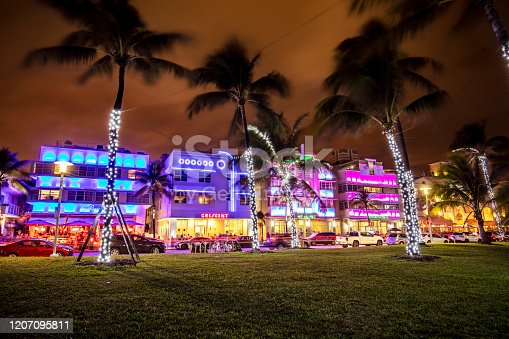 Nightlife at Ocean Drive in Miami Beach, Florida, USA