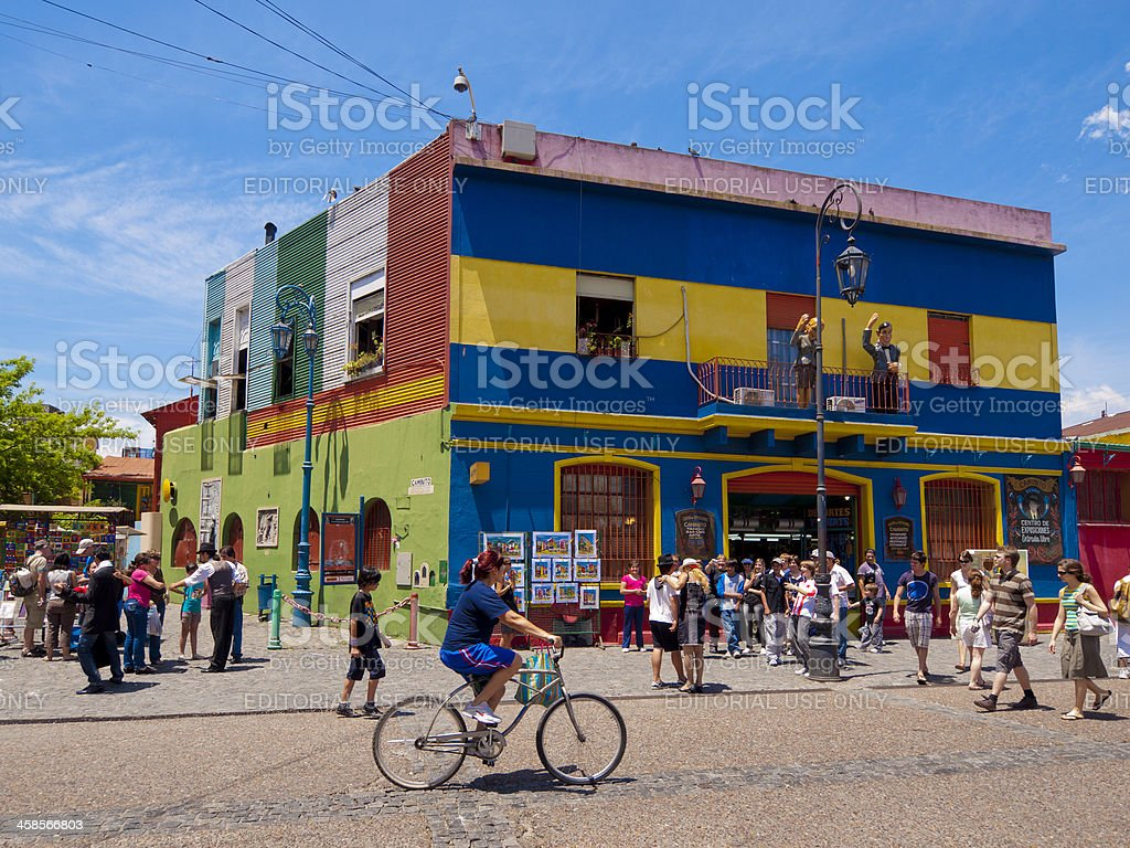 Colourful buildings, La Boca in Buenos Aires stock photo