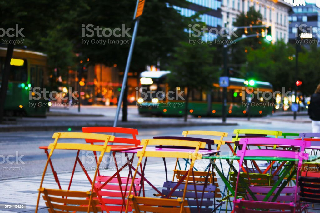 Colourful cafeteria chairs stock photo